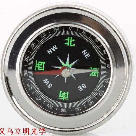 60mm金属不锈钢中文多功能军英文指北针 学生户外运动罗盘指南针