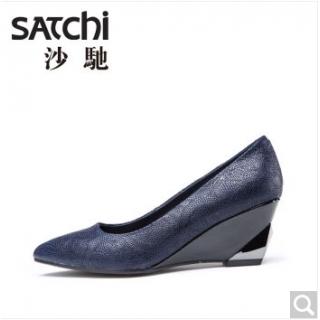 satchi沙驰女鞋 尖头坡跟羊皮单鞋秋 深蓝 黑色