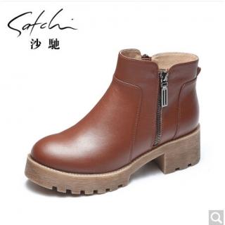 satchi沙驰靴子圆头粗跟中跟短靴保暖加绒马丁靴 咖啡色 黑色