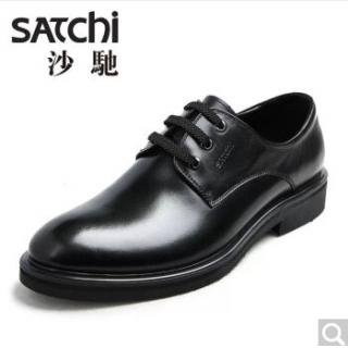 satchi/沙驰男鞋秋季商务正装皮鞋 经典系带正装德比鞋子 黑色