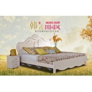 全友家私 韩式床田园床卧室家具套装组合双人床板式床 120606 双人床+床头柜*2+床垫 1800*2000