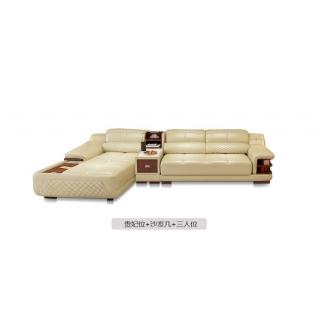 A家家具 真皮沙发带充电功能客厅组合 棕色 三人位+贵妃位