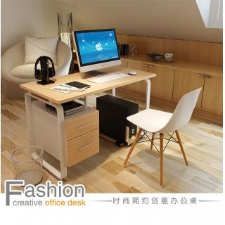 蔓斯菲尔电脑桌学生时尚大气书房桌台式笔记本家用办公写字简约钢架书桌双人办公桌带抽屉柜 如图色 长120x高75x宽60cm