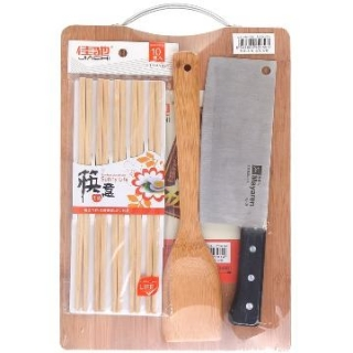 佳驰 砧板4件套装(菜板1片、筷子10双装、方铲1把、菜刀1把)JC-SJT34