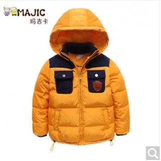 玛吉卡男童白鹅绒羽绒服短款加厚冬装儿童保暖外套