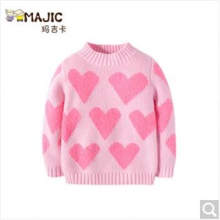 玛吉卡女童毛衣套头 儿童圆领针织衫加厚提花韩版
