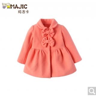 玛吉卡童装女童大衣厚 儿童毛呢外套可爱韩版风衣