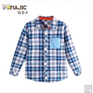 玛吉卡童装男童衬衫长袖2016秋季新款棉格子衫休闲外套上衣