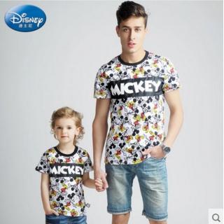 迪士尼童装 亲子装短袖T恤一家三口全家装纯棉圆领上衣