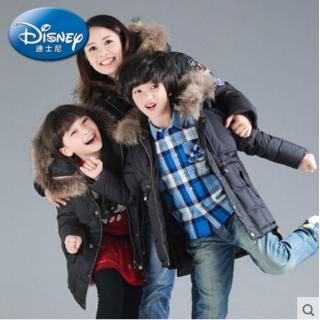 迪士尼童装中长款加厚羽绒服男女童休闲连帽时尚儿童亲子装母女装