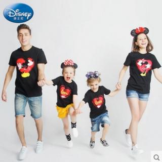 迪士尼儿童装 亲子装短袖T恤一家三口全家装纯棉 母子装
