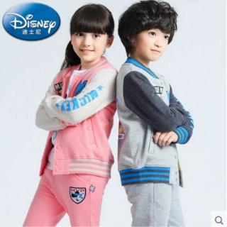 迪士尼童装男女童卫衣套装 儿童时尚运动棒球服春秋两件套
