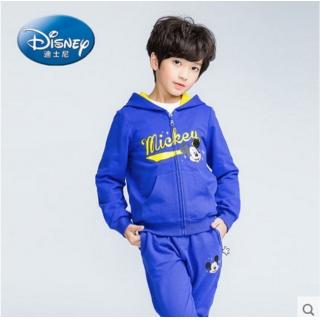 迪士尼男女孩子儿童装连帽拉链外套裤子运动衣两件套装小学生衣裤