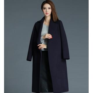 罗衣原创冬季新款气质翻领黑蓝色中长羊毛呢外套直筒毛呢大衣