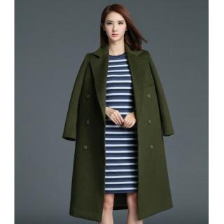 罗衣原创冬季新款气质翻领军绿色毛呢外套双排扣羊毛呢大衣