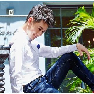 Romon/罗蒙长袖衬衣男青年纯棉尖领商务休闲衬衣