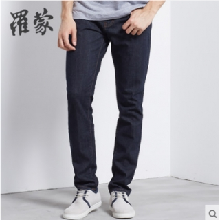 罗蒙男士修身牛仔裤青年高腰直脚长裤秋季新款牛仔裤
