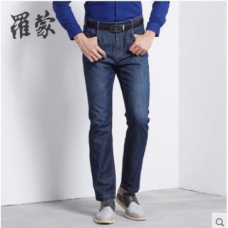 罗蒙男士纯棉牛仔裤春季高腰直脚青年休闲长裤子新款