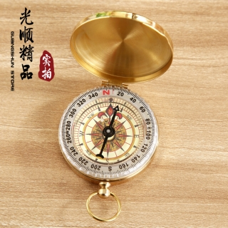 G50纯铜翻盖指南针 指北针 户外多功能金属指南针 带夜光 怀表式